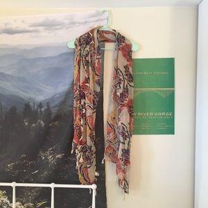 Boho floral tassel scarf